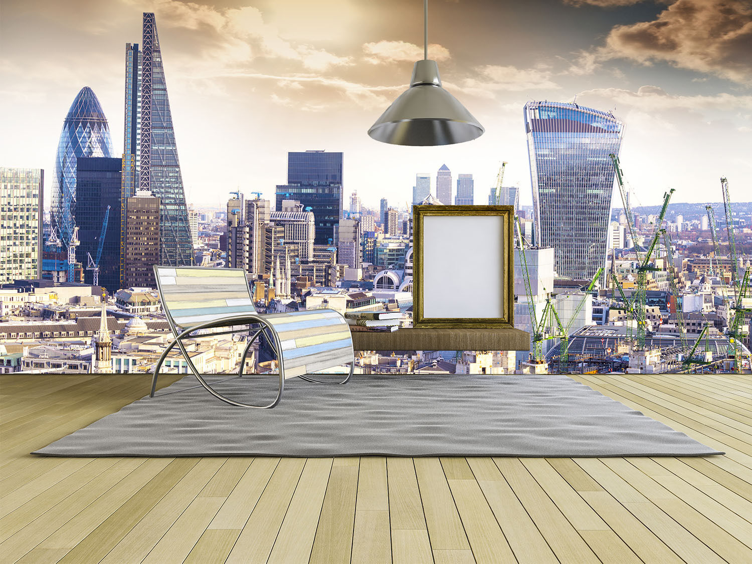 3D London Paysage 7 Photo Papier Peint en Autocollant Murale Plafond Chambre Art