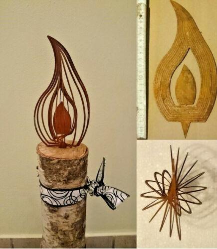 4er Set 20cm 3D Effekt Flamme ROST Kerze Advent Basteln Deko