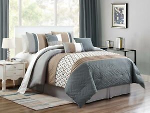 Image Is Loading 7 Pc Wylie Geometric Herringbone Comforter Set Slate