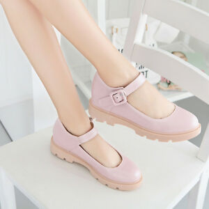 Lolita-Women-Low-Heels-Mary-Jane-Round-Toe-Ankle-Strap-Buckle-Leather-Shoes