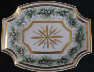 Mid-19th-Century-Old-Paris-Hand-Painted-Black-Rose-amp-Double-Gold-Trinket-Dish
