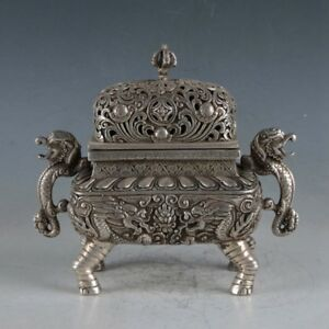 Exquisite-Tibetan-Silver-Dragon-Incense-Burner