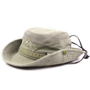 Mens-Cotton-Embroidery-Bucket-Hat-Fishing-Outdoor-Mesh-Breath-Sunshade-Cap-Gift