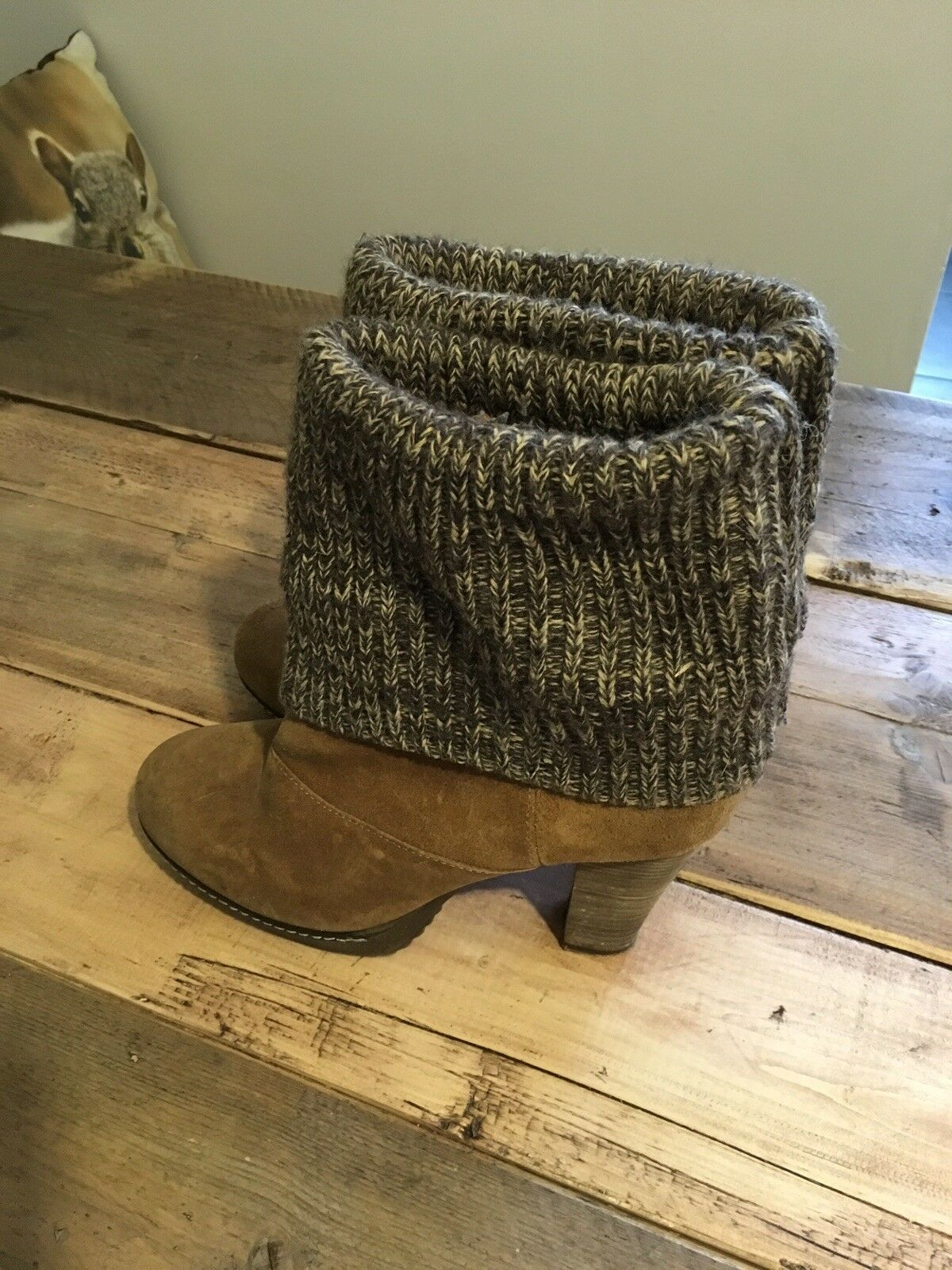 ️ Womens Tan Ankle Boots With Knitted Top Size 8  ️