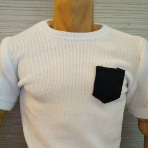 """1//6 Scale Tee White Short Sleeves T-Shirt Dog For 12/"""" Action Figure"""