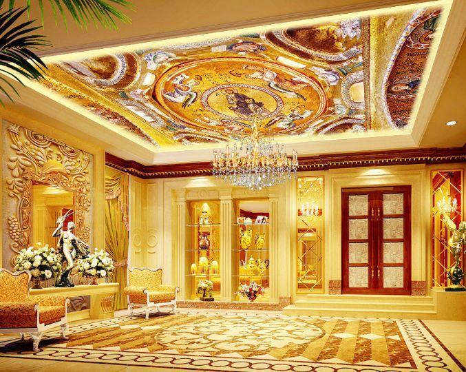 3D Gold Picture 2 Ceiling WallPaper Murals Wall Print Decal Deco AJ WALLPAPER GB
