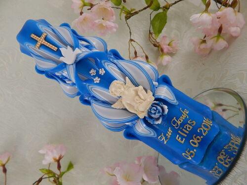 Taufkerze geschnitzt blau mit Engel und Taube Taufkerzen für Jungen mit Name