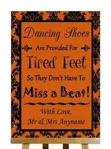 Naranja quemado Negro zapatos de baile con los pies cansados Personalizado Boda Signo