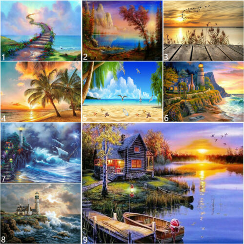 Full Drill Seaside Beach DIY 5D Diamond Painting Christmas Lake Cross Stitch Art
