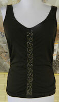 Nine West Sz Small Embellished Stretch Dark Brown Beaded Center Tank Top
