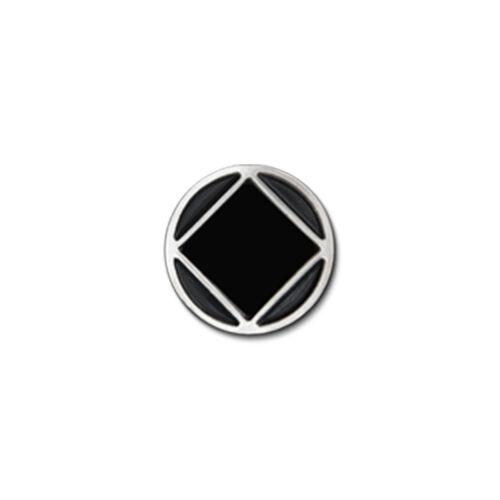 "NA Circle//Diamond Small Black and Silver Enameled Lapel Pin 3//8/"""