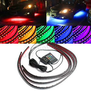 4X-RGB-LED-Strip-Tube-Car-Underglow-Underbody-Neon-Light-Kit-Remote-Control