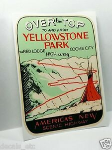 YELLOWSTONE PARK Scenic Highway Vintage Style Travel Decal ... |Scenic Vinyl Graphics