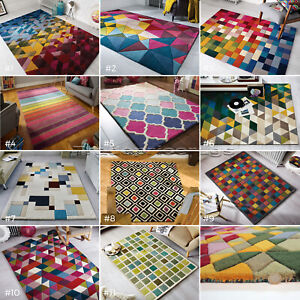 ILLUSION-MODERN-GEOMETRIC-SHAPES-COLOURFUL-BRIGHT-THICK-100-WOOL-PILE-SOFT-RUG