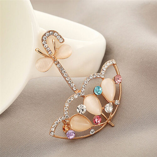 Opale et Strass Parapluie Broche épingle Mignon Style Coréen Broches Pour Femmes Jo
