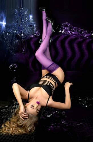 BALLERINA 517 Luxury Purple Classy Smooth Hold Ups S//M L//XL Hosiery Lace Top