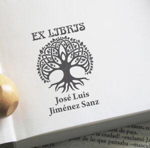 EX-LIBRIS-SELLO-EXLIBRIS-PERSONALIZADO-ARBOL-DE-LA-VIDA-LIBRO-LIBRERIA