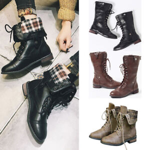 WOMENS-MILITARY-BOOTS-ARMY-COMBAT-ANKLE-LACE-UP-FLAT-BIKER-RETRO-MID-CALF-SHOES