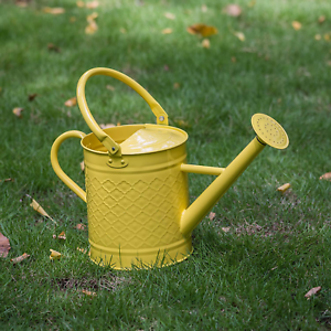 HORTICAN Galvanized Watering Can Modern Style Watering Pot with Handle for Outdo