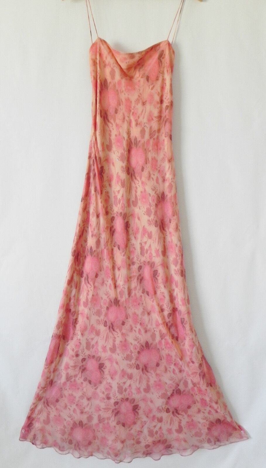 Laundry by by by shelli segal evening dress 100% silk maxi ruffle  size 12 09700a