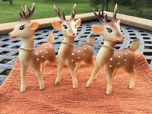 Vintage-Christmas-Decor-Rubber-Reindeer-3-W-Bells-6-T-Moveable-Heads-Japan-60-s
