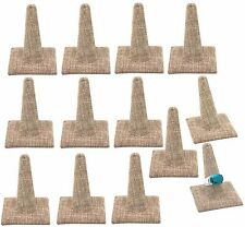 12pc Burlap Ring Holders Single Ring Jewelry Displays Showcase One Finger Stands