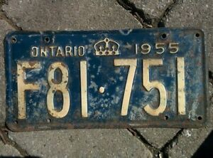 Vintage 1955 Ontario ON Canada Vehicle License Plate Blue White ~ POOR F81 751