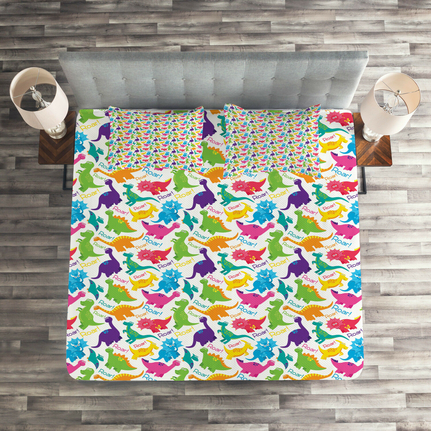 colorful Quilted Coverlet & Pillow Shams Set, Wild Dinosaur Cartoon Print