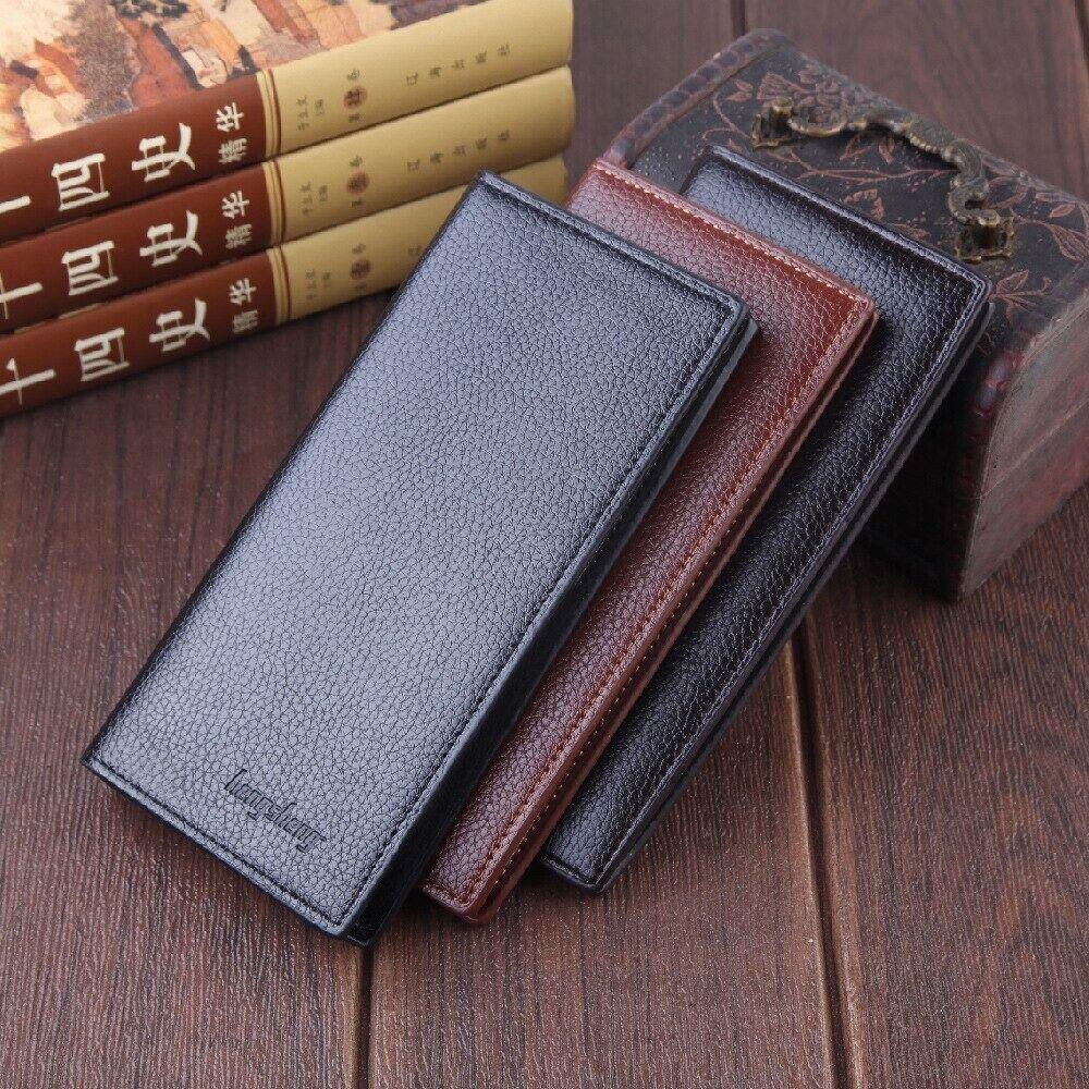 Men's Slim Leather Wallet Long Fashion Money Credit Card ID Holder Purse Gift