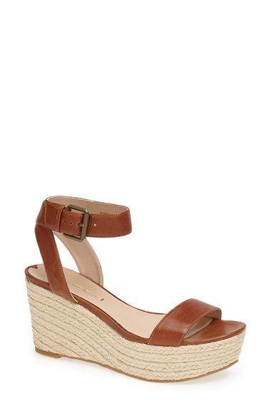 NEW  Via Spiga Larissa lLeather Wedge Sandal color color color TOBACCO SIZE 9.5 5eb705