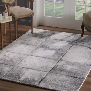Teppich-Flachflor-Modern-Konturenschnitt-Kariert-Meliert-Wohnzimmer-Grau-Creme