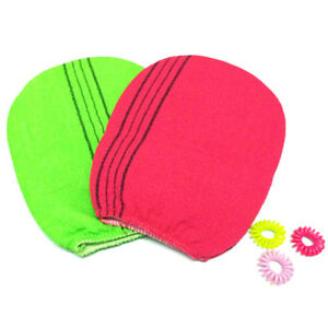 2 colors Korean Italy Exfoliating Body-Scrub Glove Towel Green Red YL