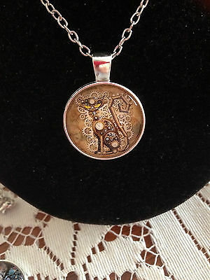 Steam Punk Cat Silver Cabochon Necklace Pendant..New