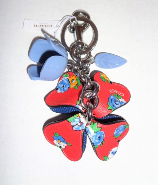COACH Red Tea Rose~blue Floral~keychain/ bag charm F58517 free gift box/shipping