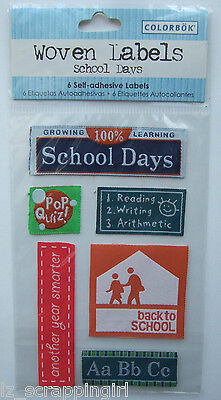 ~SCHOOL DAYS~ Colorbok Woven Self-Adhesive Labels; Elementary Stickers, Back To