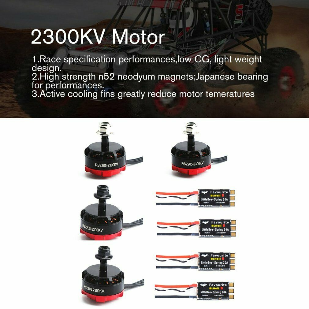 4PCS Brushless Motor Usable Quad Drone Racing For Emax RS2205 2300KV CCW CW FPV
