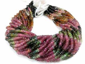 Natural-Multi-Tourmaline-Rondelle-Faceted-Gemstone-Beads-watermelon-Tourmaline