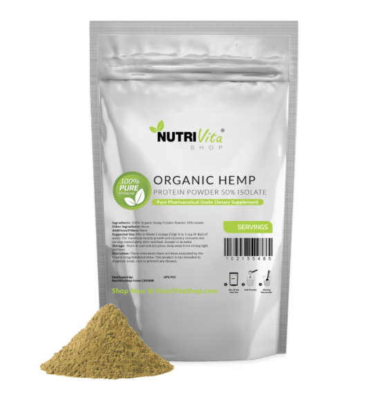 2X 50% 2lb (4lb) 100% Pure Organic Hemp Protein Powder 50% 2X Isolate High Fiber 534867