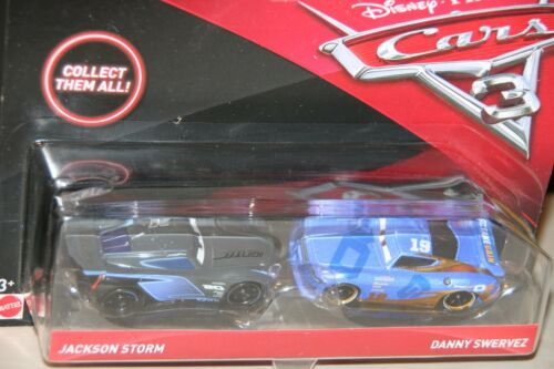 "DISNEY PIXAR CARS 3 /""2 PACK JACKSON STORM /& DANNY SWERVEZ/"" IMPERFECT PACKAGING"