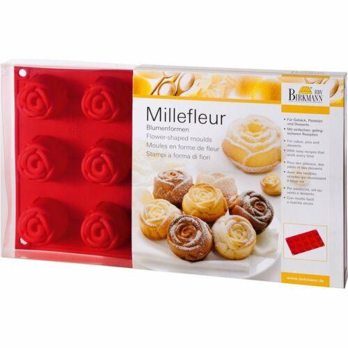 Muffin Backform Dessertform Kleingebäck Rose Silikon Blume Rot Birkmann 15 Loch