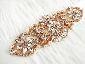 Rose gold crystal sash ceinture avec ivoire perles vente cristal ivoire perle mariée