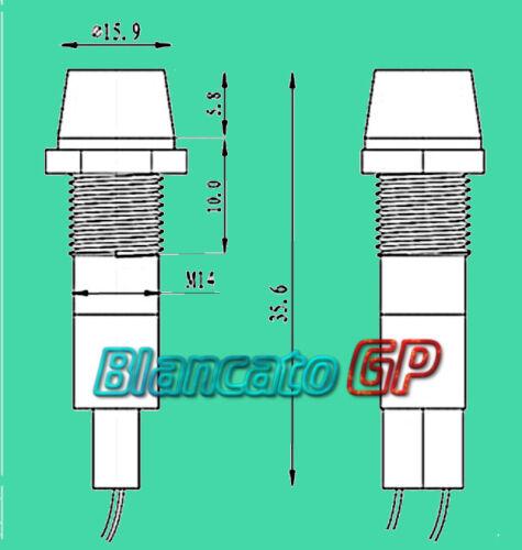 SPIA LED BLU 12V DC METALLO CONICO 14mm auto moto camper segnalatore lampada