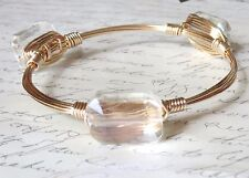 """Clear Crystal Bangle Bracelet """"Bourbon and Bowties"""" Inspired"""