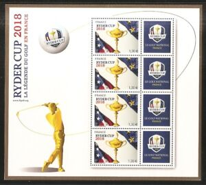 FRANCE-2018-Bloc-GOLF-142-RYDER-CUP-2018-NEUF-LUXE-MNH-epuise-tirage-30-000