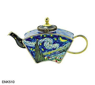 KELVIN CHEN Enamel Mini Handpainted Copper Teapot - Starry Night by VAN GOGH