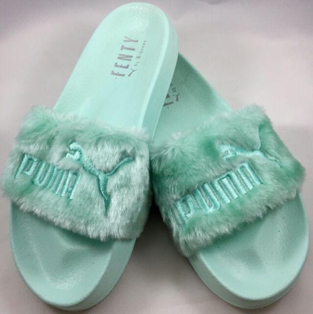 2951b367997f Fenty X Puma By Rihanna Leadcat Faux Fur Slide Bay Silver Sandals Size 6.5