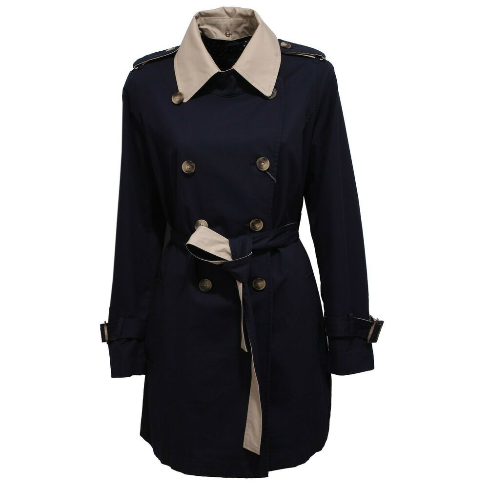 7853x Trench Donna Persona Marina Rinaldi Blue/beige Jacket Woman