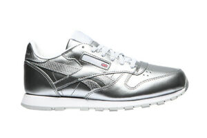 Reebok-Classic-Leather-Sneaker-JR-Metallique-Argent