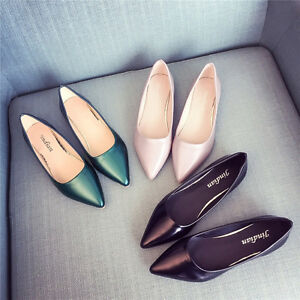 Women-Ballerina-Ballet-Flats-Pointed-Toe-Slip-On-Boat-Shoes-Work-Casual-Loafer