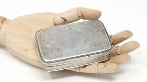 19th Century 1868 Victorian Art Nouveau Ornate Snuff Box Sterling Silver